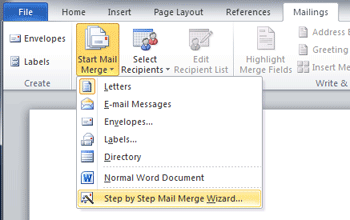 Start the Step by Step Mail Merge Wizard