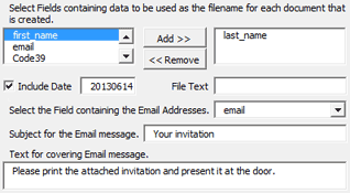 Select fields containing data to be used as filenames and the field containing the email addresses.
