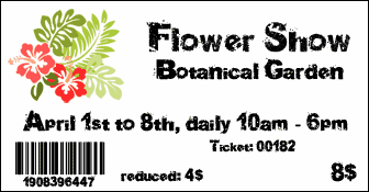 Sample ticket with logo or pictures
