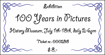Sample ticket, which uses images with frames