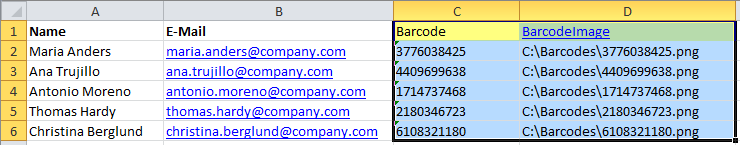 Copy the barcode into your Excel file with the names and e-mail addresses and save the file.