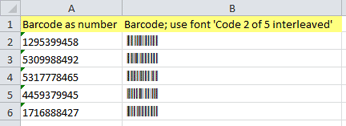 Barcodes are exported to Microsoft Excel