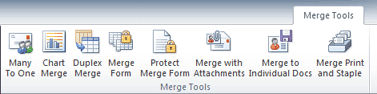 After placing the MergeTool file in the Word Startup folder the MergeTool tab is shown.
