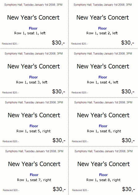 Print With TicketCreator On Perforated Sheets ...  Printable Blank Tickets