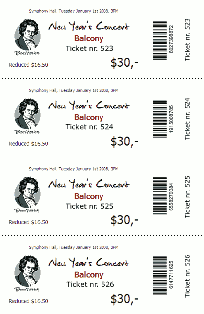 TicketCreator Create Design and Print Tickets with – Lunch Ticket Template