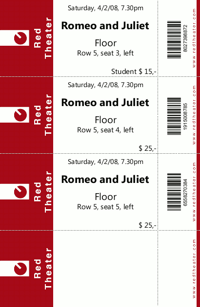 ... Print With TicketCreator On Customized Ticket Stocks  Food Tickets Template